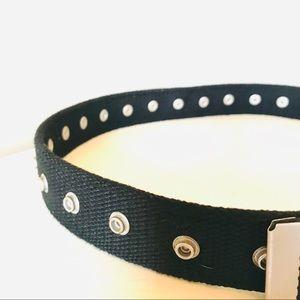 Accessories - Unisex Black Fabric Snap Grommet Utility Belt